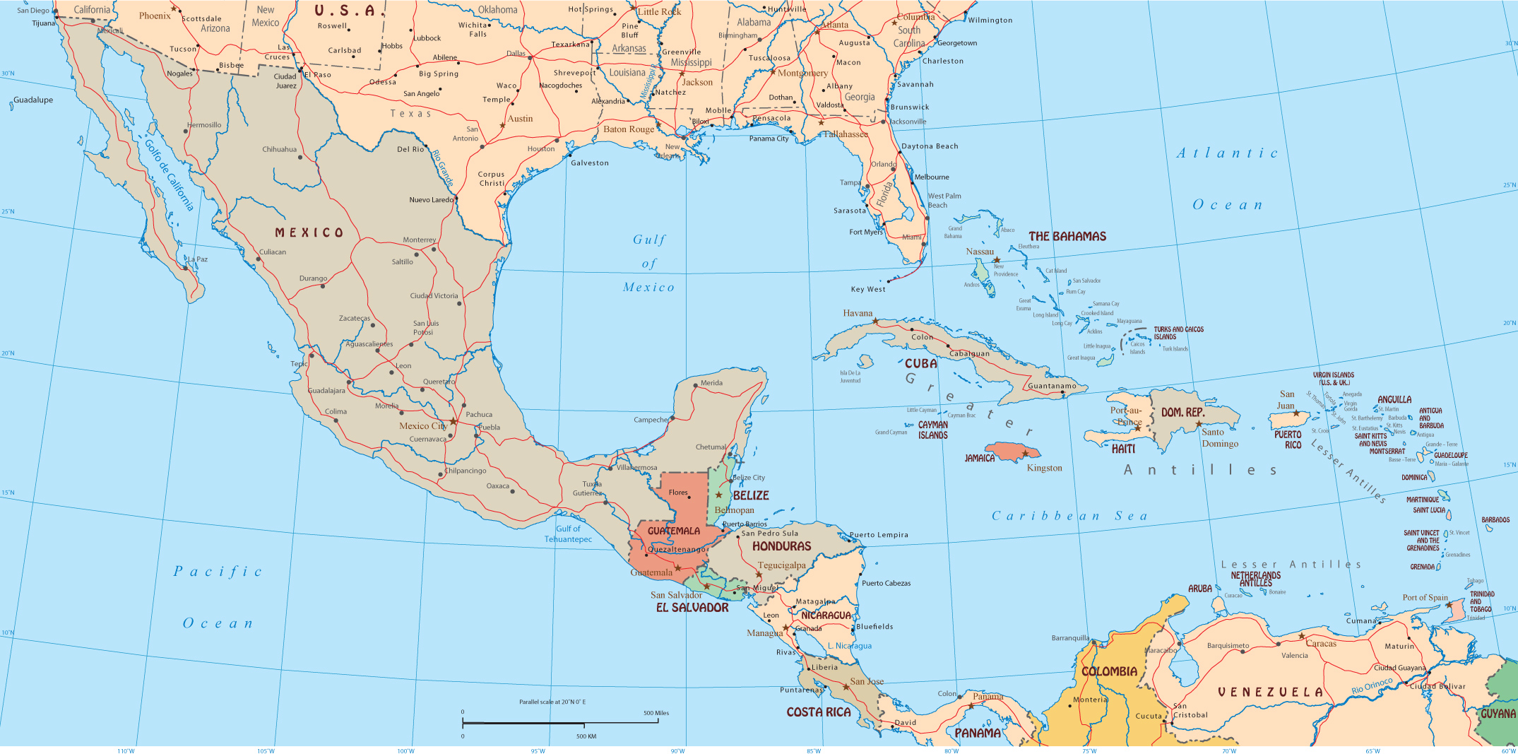 Political Map Central America