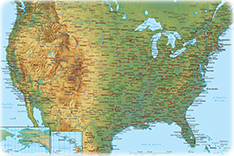 Physical America map